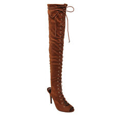 Women's Thigh High Corset Lace Up Stiletto High Heel Boots TAN Size 7