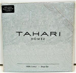 Tahari Home 4 PC Cotton Percale Sheet Set Paisley Soft Dusty Green Queen