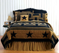 DELAWARE STAR Queen Quilt Primitive/Rustic Black/Khaki Plaid Country Cabin