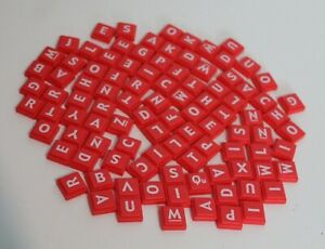 2008 Scrabble Upwords Replacement Plastic Red Letter Tiles