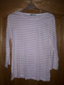 Ladies White Hobbs Long Sleeve T Shirt Size small pink and white stripes