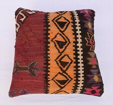 Tribal Kilim Pillowcase, Turkish Throw Pillow, Vintage Pillow Cover, 16''x 16''