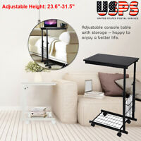 Over Bed Table Height Adjustable Hospital Home Laptop Desk Tray W/ Rolling Wheel