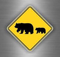 Autocollant sticker voiture moto macbook attention ours panneau tuning grizzli
