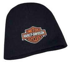 Harley-Davidson Mens Embroidered Bar & Shield Knit Beanie Cap, Black KNCUS020130