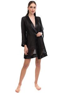 BLUEBELLA Voile Kimono Robe Size M Black Satin Trim See Through Open Front
