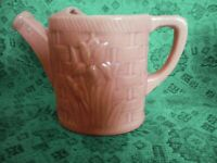 Shawnee Pottery Vintage Pink Watering Can Planter, Tulip Design, Circa 1940s