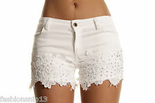 NEW LADIES WOMEN SUMMER MID WAISTED DIAMOND STUDDED STRETCHY LACE DENIM SHORTS