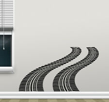 Tire Tracks Wall Decal Way Road Garage Vinyl Sticker Car Nursery Mural 197crt