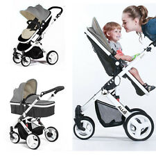 Allis Baby Buggies Pram Pushchair Stroller Carry Cot Travel 2 in 1 Grey