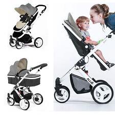 Allis Venus Baby Pram Pushchair Buggy Stroller Carry Cot Travel 2in1 Grey