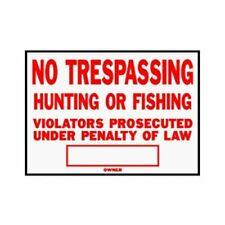 No Trespassing, Hunting or Fishing Sign Hy-Ko aluminum Pack of 12