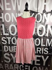 Luxology pink lace bodice with pink white stripes dress size M