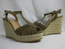 Steve Madden Size 10 M Remy Taupe Suede Open Toe Wedges New Womens Shoes NWOB