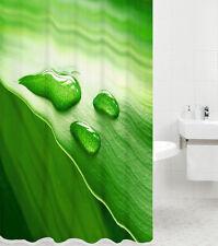 DUSCHVORHANG TEXTIL ANTI SCHIMMEL WC BADEWANNENVORHANG GREEN LEAF 180 x 180 cm