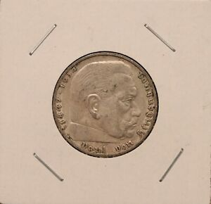1939 F 2 Reichsmark 625 silver 8 grams nice coin WW2 Third Reich KM 93
