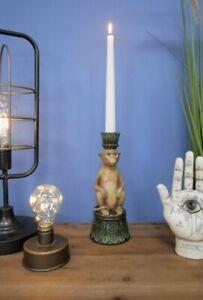 Serene Antiqued Maurice Monkey Vintage Candle Holder, New