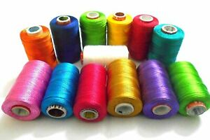 13 Silk Embroidery Machine Thread for Brother,Janome - different Colors,Great US