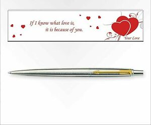 Parker Jotter Special Love Edition Stainless Steel Ball Pen - Gold Trim, Blue