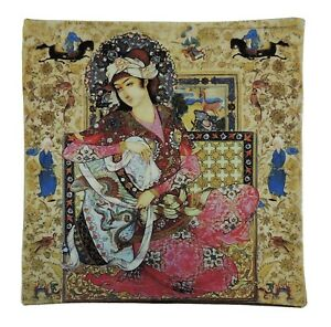 Persian Iranian Miniature Paint Art Farshchian Cushion Cover Pillow Case Nowrooz