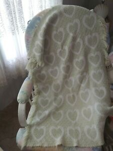 100% Cotton Pastel Baby Blanket Woven Vintage  25 x 40 light green hearts