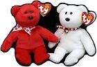 Set of 2 Ty Valentine's Day Beanie Babies Bear White Xavier  Red Amora 2018