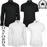 Relco Mens Oxford Black White Button Down Collar Short & Long Sleeve Shirt