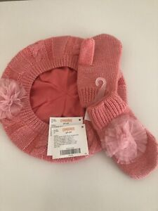 NWT Gymboree Girls Snowflake Glamour Rosette Sweater Beret & Mittens Pink 2T3T
