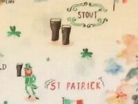 RPFFT72C Irish Pot Of Gold St Patrick's Day Beer Leprechaun Cotton Quilt Fabric