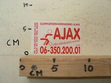 STICKER,DECAL SUPPORTERSVERENIGING AJAX AMSTERDAM VOETBAL HET NIEUWS