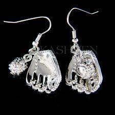 w Swarovski Crystal ~Baseball~ Softball Glove team Sport Charm Earrings Jewelry