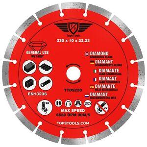 "1 x 230mm 9"" Diamond Angle Grinder Stone Brick Concrete Cutting Disc TopsTools"