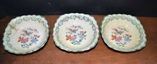 (3)  Antique Fingerbowls Square Colonial China Bird Floral Pattern
