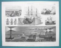 NAVY Dockyards Lighthouses Lantern Ships Pilot Boats - 1870s Superb German Print