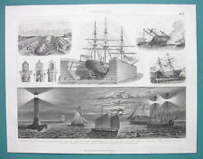 NAVY Dockyards Lighthouses Lantern Ships Pilot Boats - 1870s Superb German Print