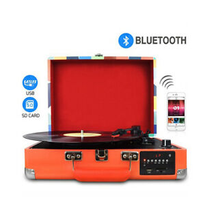 DIGITNOW 3 Speed Bluetooth USB SD AUX In Turntable With Built In Speakers M46 R