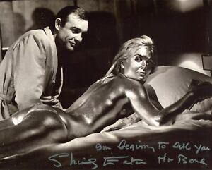 """Shirley Eaton signed Goldfinger """"I'm beginning to like you Mr Bond"""" photo"""