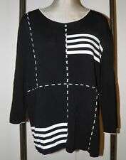 FINITY Sweater 2X Black White Accents & Lacing Stretchy Flat Knit 3/4 Sleeves