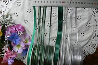 Satin & Metallic Ribbons 3,6,7&10mm Wide 3&5 Mtrs SILVER & GREEN/Gold Choice BW