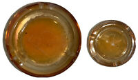 Vintage Marigold Carnival Glass Ashtrays Set of 2 Amber Rainbow Iridescent