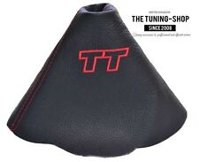 """For Audi TT 2006-2014 Gear Gaiter Black Leather """"TT"""" Red Embroidery"""