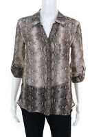 Diane Von Furstenberg Womens Long Sleeve V-Neck Blouse Button Down Brown Size 2