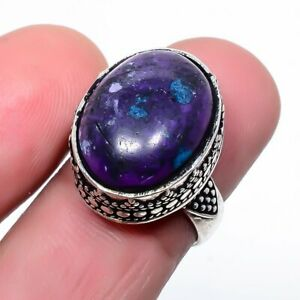 Purple Turquoise Gemstone 925 Sterling Silver Jewelry Ring s.6 F2591