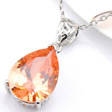 Huge Square Honey Morganite Gemstone Silver Necklace Pendant Valentine's Hot