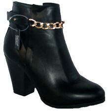 LADIES BLACK ANKLE BOOT WITH SIDE ZIP AND FRONT CHAIN TRIM SIZES 4-8