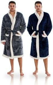Mens Luxury Sherpa Lined Cosy Robe Fleece Dressing Gown