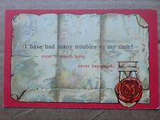 "W E Mack ""Many Troubles..."" Vintage Motto Postcard Sayings Funny Comic"