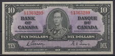 1937 BANK OF CANADA $10 DOLLAR BC-24b E/D 1363299 GORDON TOWERS CHOICE UNC NOTE