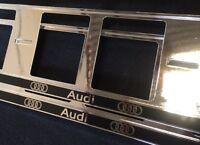 2 x AUDI S-LINE A6 A8 Q7 TT EUROPEAN LICENSE NUMBER PLATE SURROUND FRAME HOLDER