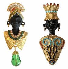 Mohr von Venedig bzw. Blackamoor Brosche, goldfarbenes Metall, bunte Kristalle